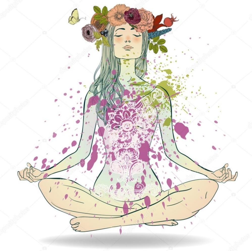 femme méditation dessin