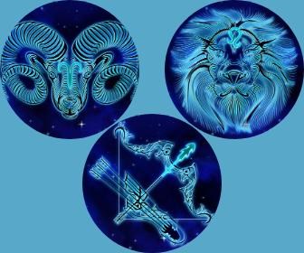 Les caractéristiques des trois signes de Feu, Bélier, Lion et Sagittaire